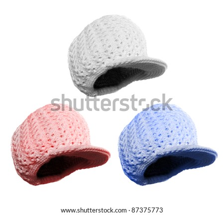 Woolen knit hat for cold weather isolated on white background. Homemade product. - stock photo