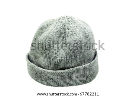 woolen knitted cap isolated on a white background - stock photo