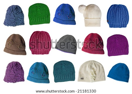 woolen knitted caps - stock photo