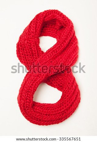woolen red scarf isolated in plan - stock photo