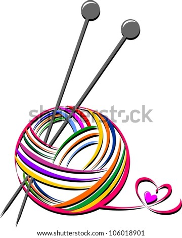 Woollen thread and knitting needle. Needlework accessories isolated on white background. illustration - stock photo