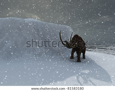 Woolly ice age mammoth in blizzard - stock photo