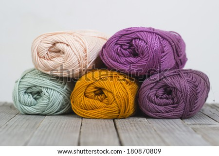 wools on rustic wood table