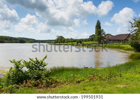 Wootton Bridge mill pond Isle of Wight between Ryde and Newport  - stock photo
