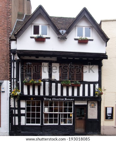 WORCESTER,UK-APRIL 06 2014:Old house in Worcester city England where King Charles 2nd hid from his enemies during the Civil War - stock photo
