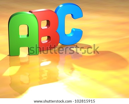 Word ABC on yellow background (high resolution 3D image) - stock photo