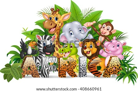 Word Africa with funny cartoon wild animal - stock photo