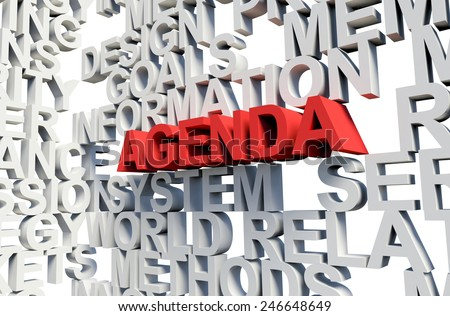 Word Agenda in red, salient among other related keywords concept in white. 3d render illustration. - stock photo