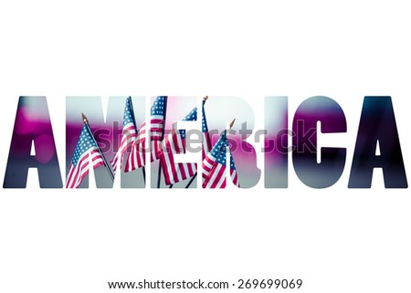 Word AMERICA over traditional symbols. - stock photo