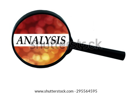 """Word """"analysis"""" on the magnifying glass with bokeh. - stock photo"""