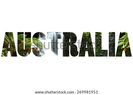 Word AUSTRALIA over Gorgeous Russel Falls splash down in the Mt Field National Park - stock photo