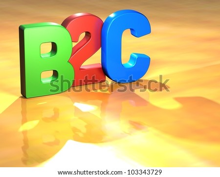 Word B2C on yellow background (higj resolution 3D image)