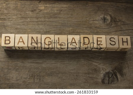Word BANGLADESH on a wooden background - stock photo