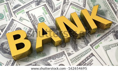 Word Bank on the background of one hundred dollar bills