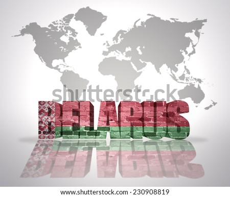 Word Belarus with belorussian Flag on a world map background - stock photo