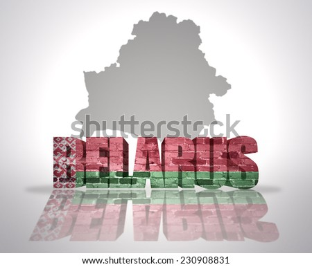 Word Belarus  with National Flag near map of  Belarus - stock photo
