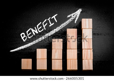 Word Benefit on ascending arrow above bar graph of Wooden small cubes isolated on black background. Chalk drawing on blackboard. Business Concept image. - stock photo