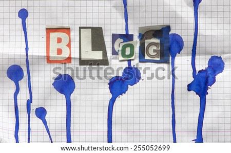 Word blog from different letters,  - stock photo
