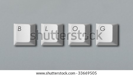 """Word """"blog"""" written with computer keys isolated on grey background - stock photo"""