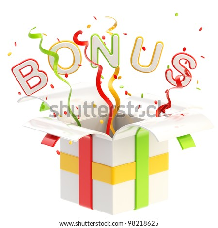 "Word ""bonus"" inside a gift box with colorful ribbon, serpentine and confetti isolated on white - stock photo"