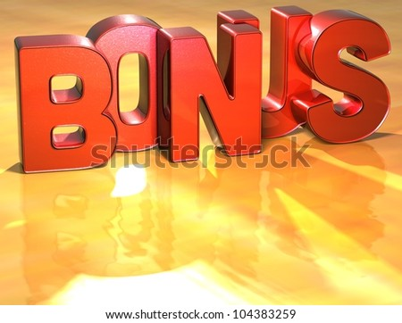 Word Bonus on yellow background (high resolution 3D image)