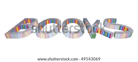 """Word """"Books"""" assembled with real books wrapped in rainbow-colored paper isolated on white background. Real books, no 3D-render! - stock photo"""