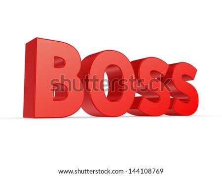 Word BOSS.Isolated on white.3d rendered. - stock photo