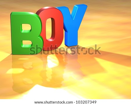 Word Boy on yellow background (high resolution 3D image)
