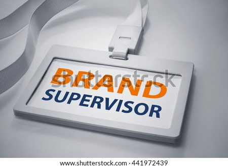 Word brand supervisor on Identification white card background.For business concept. - stock photo