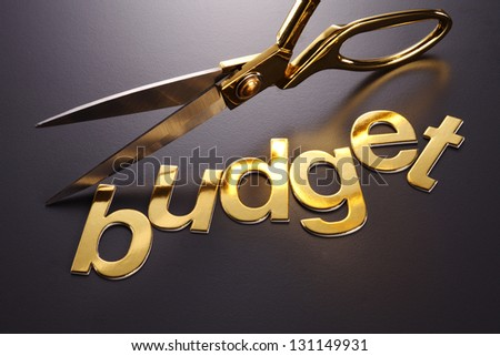 word budget next to the scissors