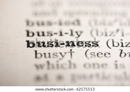 Word business from the old dictionary, a close up. - stock photo