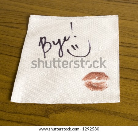 Word Bye, lipstick and a smiley face on the napkin - stock photo