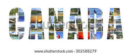 Word Canada. Canada  landscapes.White background - stock photo