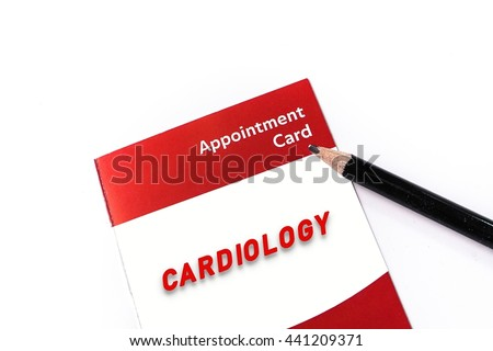 Word CARDIOLOGY on medical check up appointment card - stock photo