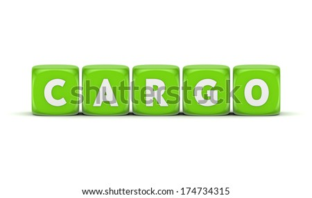 Word CARGO.Isolated on white.3d rendered.