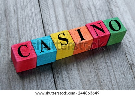 word casino on colorful wooden cubes - stock photo