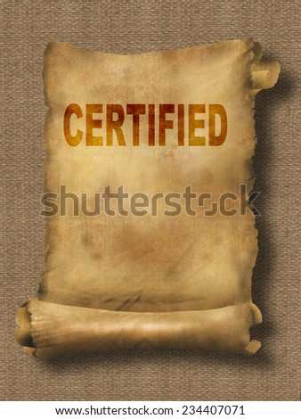 word certified on paper scroll made in 2d software