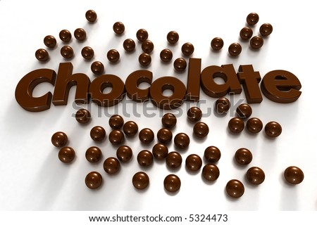 Word chocolate formed by chocolate-textured letters and surrounded by chocolate drops on a white background - stock photo