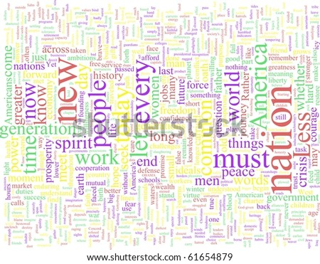 Word Cloud based on President Obama's Inaugural Speech - stock photo