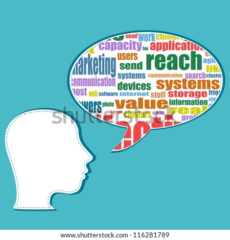 Word cloud business concept with businessman head, career development. raster - stock photo