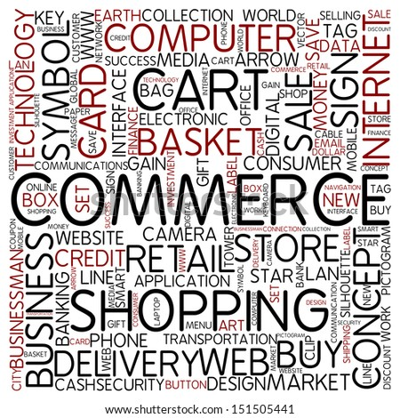 Word cloud - commerce - stock photo