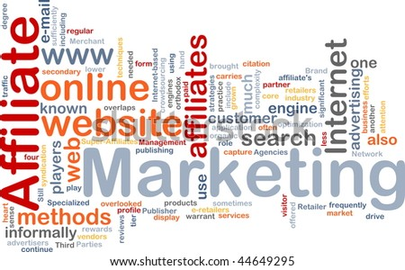 Word cloud concept illustration of affiliate marketing - stock photo