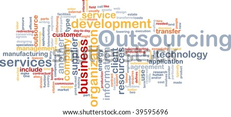 Word cloud concept illustration of business outsourcing