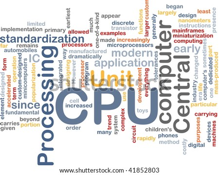 Word cloud concept illustration of computer CPU - stock photo
