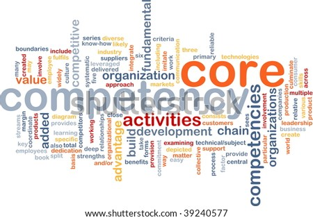 Word cloud concept illustration of core comptency - stock photo