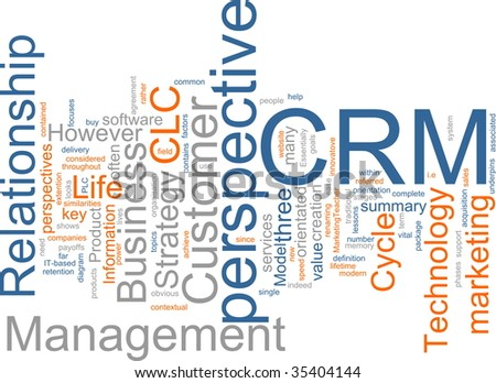 Word cloud concept illustration of CRM Customer Relationship Management - stock photo