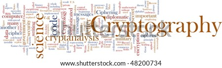 Word cloud concept illustration of cryptography encryption