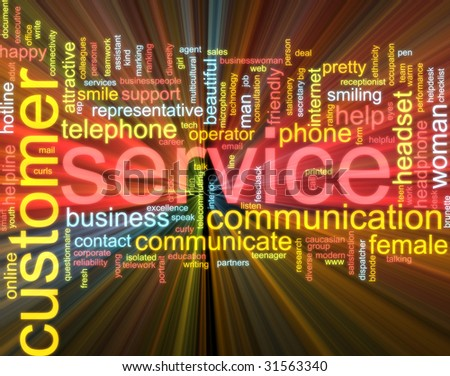 Word cloud concept illustration of customer service glowing light effect - stock photo
