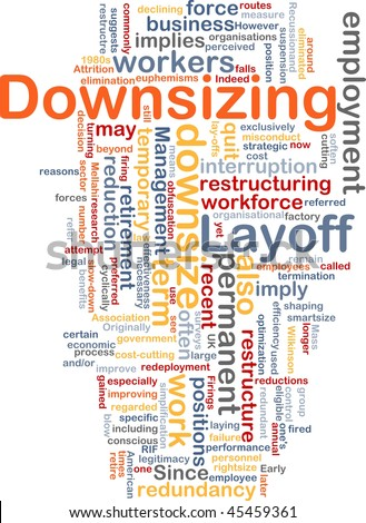 Word cloud concept illustration of downsizing restructuring - stock photo