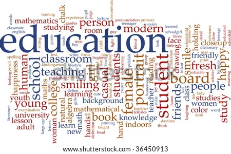 Word cloud concept illustration of education studies